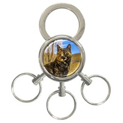 Adult Wild Cat Sitting And Watching 3 Ring Key Chains by dflcprints