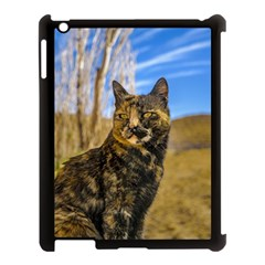 Adult Wild Cat Sitting And Watching Apple Ipad 3/4 Case (black) by dflcprints