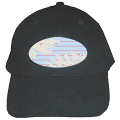 Flower Floral Sunflower Line Horizontal Pink White Blue Black Cap by Mariart