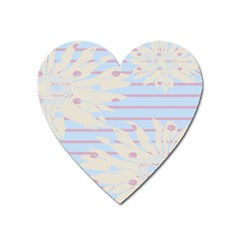 Flower Floral Sunflower Line Horizontal Pink White Blue Heart Magnet by Mariart