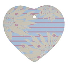 Flower Floral Sunflower Line Horizontal Pink White Blue Heart Ornament (two Sides) by Mariart
