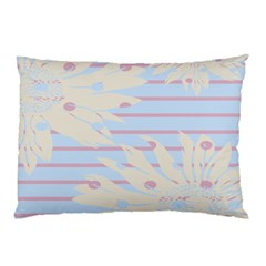 Flower Floral Sunflower Line Horizontal Pink White Blue Pillow Case by Mariart