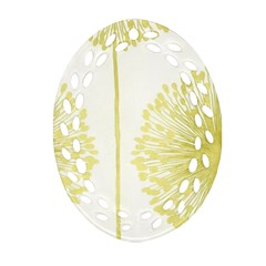 Flower Floral Yellow Oval Filigree Ornament (two Sides) by Mariart