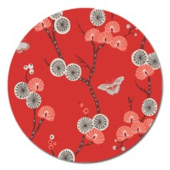 Dandelions Red Butterfly Flower Floral Magnet 5  (round) by Mariart