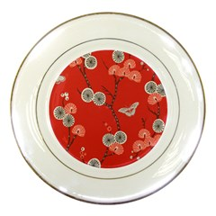 Dandelions Red Butterfly Flower Floral Porcelain Plates by Mariart