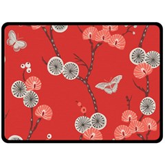 Dandelions Red Butterfly Flower Floral Fleece Blanket (large)  by Mariart