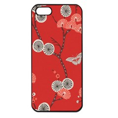 Dandelions Red Butterfly Flower Floral Apple Iphone 5 Seamless Case (black) by Mariart