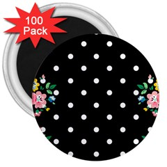 Flower Frame Floral Polkadot White Black 3  Magnets (100 Pack) by Mariart
