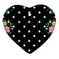 Flower Frame Floral Polkadot White Black Heart Ornament (two Sides) by Mariart