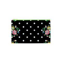 Flower Frame Floral Polkadot White Black Cosmetic Bag (xs) by Mariart