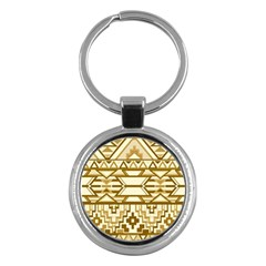 Geometric Seamless Aztec Gold Key Chains (round)  by Mariart