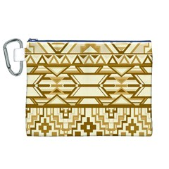 Geometric Seamless Aztec Gold Canvas Cosmetic Bag (XL)