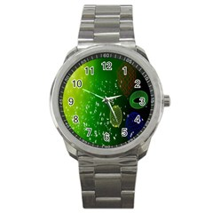 Geometric Shapes Letters Cubes Green Blue Sport Metal Watch by Mariart