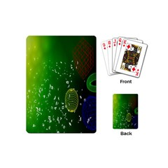 Geometric Shapes Letters Cubes Green Blue Playing Cards (mini)  by Mariart