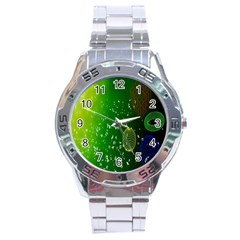 Geometric Shapes Letters Cubes Green Blue Stainless Steel Analogue Watch by Mariart