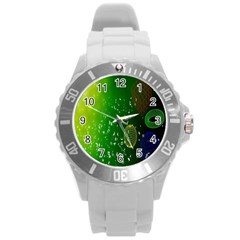 Geometric Shapes Letters Cubes Green Blue Round Plastic Sport Watch (l) by Mariart