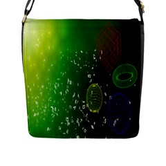 Geometric Shapes Letters Cubes Green Blue Flap Messenger Bag (l)  by Mariart
