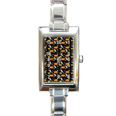 Ghost Pumkin Craft Halloween Hearts Rectangle Italian Charm Watch by Mariart