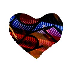 Graphic Shapes Experimental Rainbow Color Standard 16  Premium Flano Heart Shape Cushions by Mariart