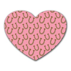 Horse Shoes Iron Pink Brown Heart Mousepads by Mariart