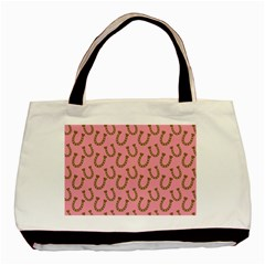 Horse Shoes Iron Pink Brown Basic Tote Bag (two Sides) by Mariart