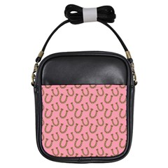 Horse Shoes Iron Pink Brown Girls Sling Bags by Mariart