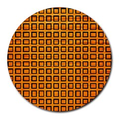 Halloween Squares Plaid Orange Round Mousepads by Mariart