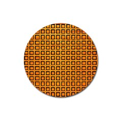 Halloween Squares Plaid Orange Magnet 3  (round) by Mariart
