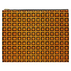 Halloween Squares Plaid Orange Cosmetic Bag (xxxl)  by Mariart