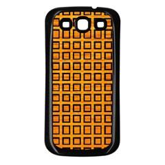 Halloween Squares Plaid Orange Samsung Galaxy S3 Back Case (black) by Mariart