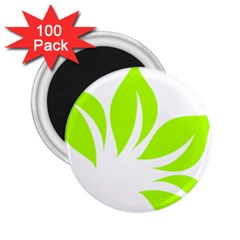 Leaf Green White 2 25  Magnets (100 Pack)  by Mariart