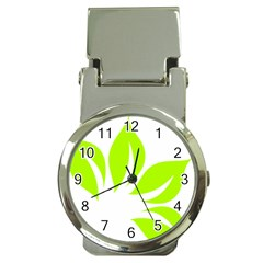 Leaf Green White Money Clip Watches by Mariart