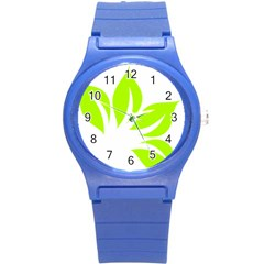 Leaf Green White Round Plastic Sport Watch (s) by Mariart