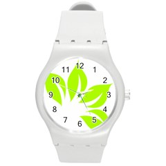 Leaf Green White Round Plastic Sport Watch (m) by Mariart