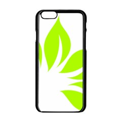 Leaf Green White Apple Iphone 6/6s Black Enamel Case by Mariart