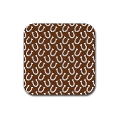 Horse Shoes Iron White Brown Rubber Coaster (square)  by Mariart