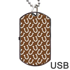 Horse Shoes Iron White Brown Dog Tag Usb Flash (two Sides) by Mariart
