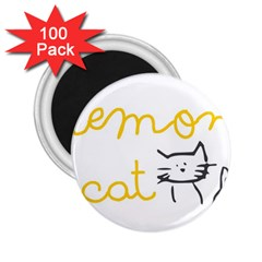 Lemon Animals Cat Orange 2 25  Magnets (100 Pack)  by Mariart