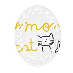 Lemon Animals Cat Orange Ornament (oval Filigree) by Mariart