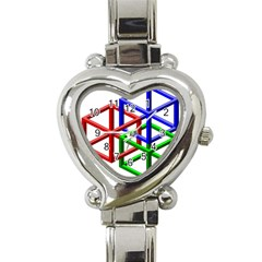 Impossible Cubes Red Green Blue Heart Italian Charm Watch by Mariart