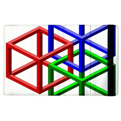 Impossible Cubes Red Green Blue Apple Ipad 2 Flip Case by Mariart