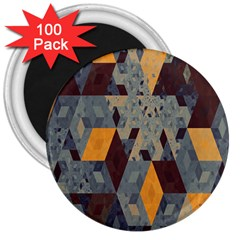 Apophysis Isometric Tessellation Orange Cube Fractal Triangle 3  Magnets (100 Pack) by Mariart