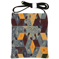 Apophysis Isometric Tessellation Orange Cube Fractal Triangle Shoulder Sling Bags by Mariart