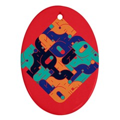 Plaid Red Sign Orange Blue Ornament (oval) by Mariart