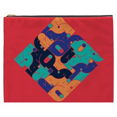Plaid Red Sign Orange Blue Cosmetic Bag (xxxl)  by Mariart