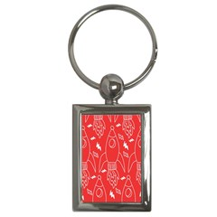 Moon Red Rocket Space Key Chains (rectangle)  by Mariart