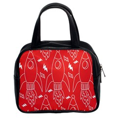 Moon Red Rocket Space Classic Handbags (2 Sides) by Mariart