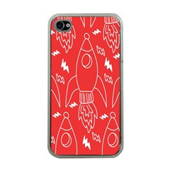 Moon Red Rocket Space Apple Iphone 4 Case (clear) by Mariart