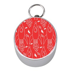 Moon Red Rocket Space Mini Silver Compasses by Mariart