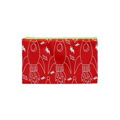 Moon Red Rocket Space Cosmetic Bag (xs) by Mariart